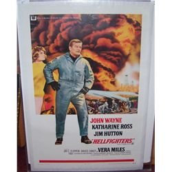 "JOHN WAYNE ""HELLFIGHTERS"" VERY RARE MOVIE POSTER IN PRISTINE CONDITION 69/36"