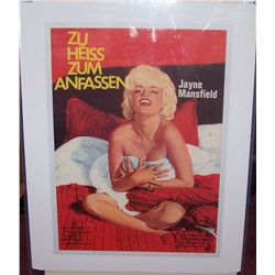 "RARE JANE MANSFIELD VINTAGE GERMAN MOVIE POSTER on canvas "" ZU HEISS ZUM ANFASSN"""