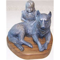 """Girl and Dog '09"" Bronze on Wood Base, 9""T x 10""W x 11""D."