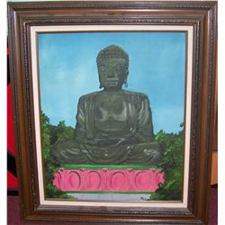 """BUDDHA"" OIL ON CANVAS PAINTING FRAMED 32T X 27W"