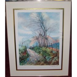 "Beautiful Framed Watercolor print signed  in pencil 30""T x 24""W"