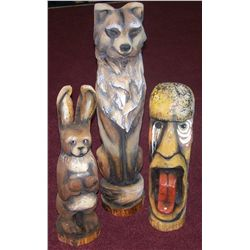 (3X$) Three Handcarved Wood Sculptures by RICK ROWLEY