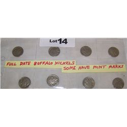 (8x$) FULL DATE BUFFALO NICKELS 1930,(3)1935,(2)1936,(2) 1937. G-VF CONDITION