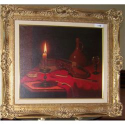 GORGEOUS OIL ON CANVAS STILL LIFE PAINTING SIGNED RUSELYE FRAMED 29T X 35W