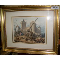ANTIQUE STONE LITHOGRAPH DEPICTING A MEDIEVAL CASTLE SIEGE. FRAMED 17T X 21W
