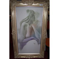 OIL ON CANVAS FEMALE NUDE PAINTING SIGNED MAHERN 58T X 34W CUSTOM FRAMED