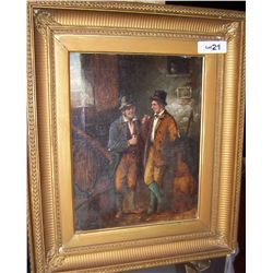 C.E. COOK ANTIQUE OIL ON CANVAS FRAMED PAINTING IMAGE 15T X 11.5 W FRAMED 23T X 19W