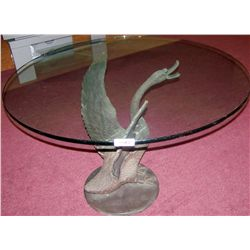 BRONZE SWAN TABLE BASE SCULPTURE & ROUND GLASS TOP