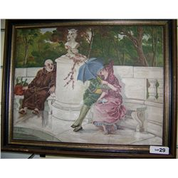 E. Froest Antique Oil on Canvas framed  painting 21T x26W