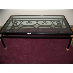 IRON & GLASS TOP COFFEE TABLE
