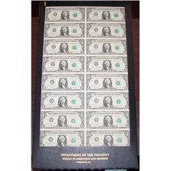 Uncut Dept. of Treasury Sheet of $1 Bills
