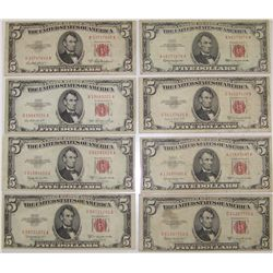 (8X$) $5 Bills Series 1953-A Red Seal