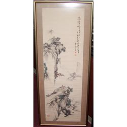 "CHINESE WATERCOLOR PAINTING ON SILK, FRAMED 58""T X 24""W"