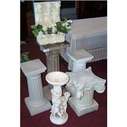 SIX OUTDOOR STATUES/PEDESTALS