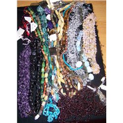 ASSORTED TUMBLED STONE JEWELRY COLLECTION AS SHOWN.