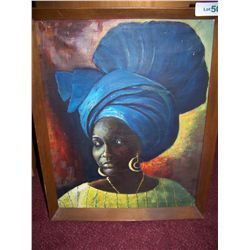 """Portrait of an African Woman"" Vintage Oil on Canvas, Framed Painting"