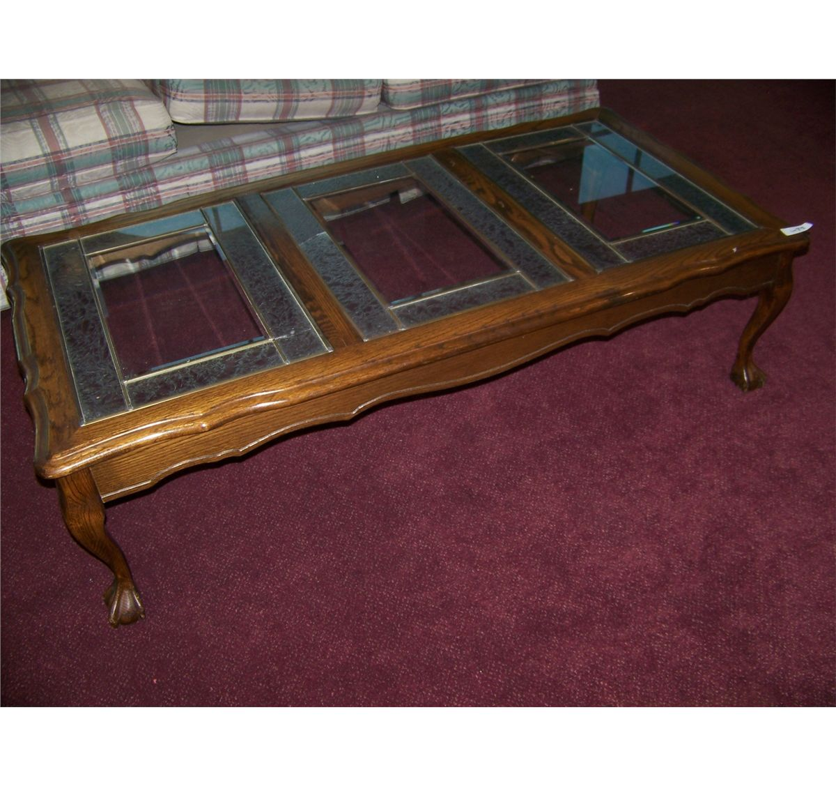 vintage oak glass top coffee table w ball claw feet. Black Bedroom Furniture Sets. Home Design Ideas