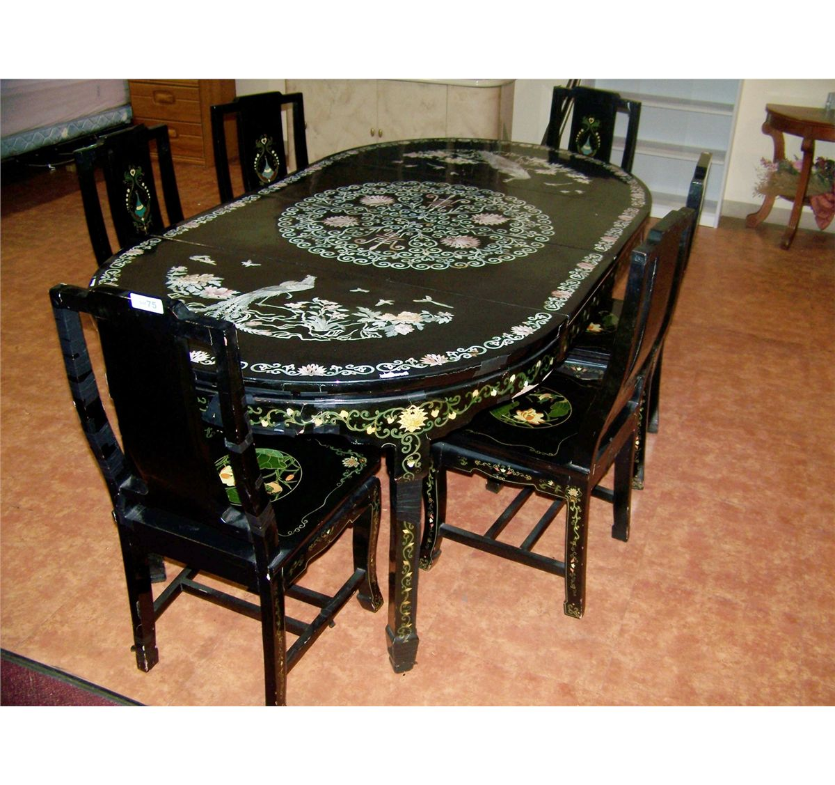 VINTAGE MOTHER OF PEARL INLAY CHINESE DINING TABLE & SIX CHAIRS