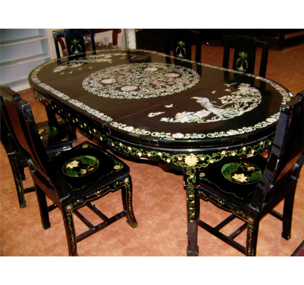 Vintage mother of pearl inlay chinese dining table six for Oriental dining table