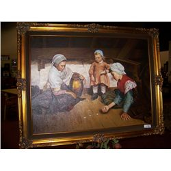 DUTCH MASTER ANTIQUE REPRODUCTION, OIL ON CANVAS FRAMED PAINTING