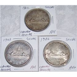 (3X$) CANADIAN SILVER DOLLARS 1962, 1963, 1966 AU to AU+