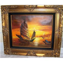 VINTAGE OIL ON CANVAS, CHINESE SHIPS IN HARBOR, FRAMED