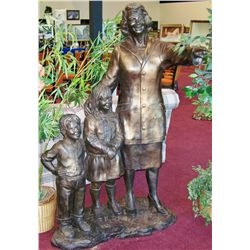 """Woman Pointing with Children"" Bronze #2 of 2"