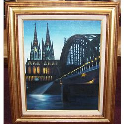 VINTAGE OIL ON CANVAS SIGNED WOLD. Cologne, Germany Bridge and Dom Cathedral