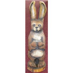 "Carved Wood Rabbit, 25""T."