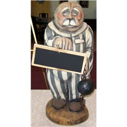 "Carved Wood Prisoner, 32""T x 18""W."