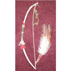 "20"" Native American Decorative Bow Made of Bone."