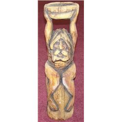 "Seated Man Holding a Bowl Carved Wood Statue. 32""T."