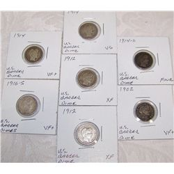 (7X$) U.S. SILVER BARBER DIMES. 1902-1916, FINE to XF CONDITION.