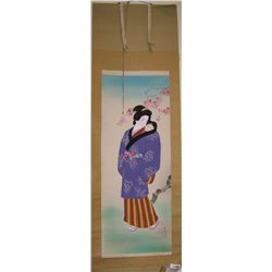 JAPANESE HAND PAINTED VINTAGE SCROLL. MOTHER & CHILD UNDER CHERRY BLOSSOMS