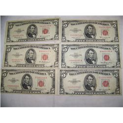 (6X$) $5 U.S. RED SEALS SERIES 1953