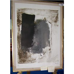 VINTAGE MODERN ART LITHOGRAPH SIGNED GRAY 1966