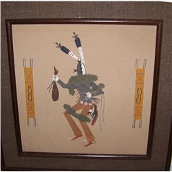 """THE CLOWN""  VINTAGE NATIVE AMERICAN SANDSTONE FRAMED PAINTING"