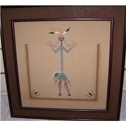VINTAGE NATIVE AMERICAN SANDSTONE FRAMED PAINTING