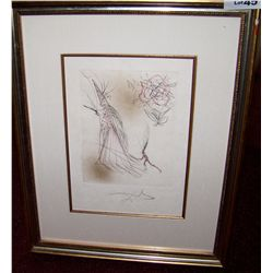 "SALVADOR DALI ""SPECTRE De La ROSE"" ORIGINAL HAND COLORED ETCHING 1968 W/ MINOTAUR GALLERIES C.O.A."