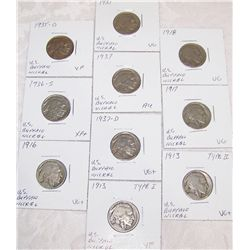(10X$) U.S. BUFFALO NICKELS. EARLY KEY DATES, VG-AU CONDITION, 1913-1937