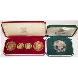 (2X$) BAILWICK OF JERSEY PROOF SET 1957, 1 CROWN PROOF FROM REPUBLIC OF MALAWI