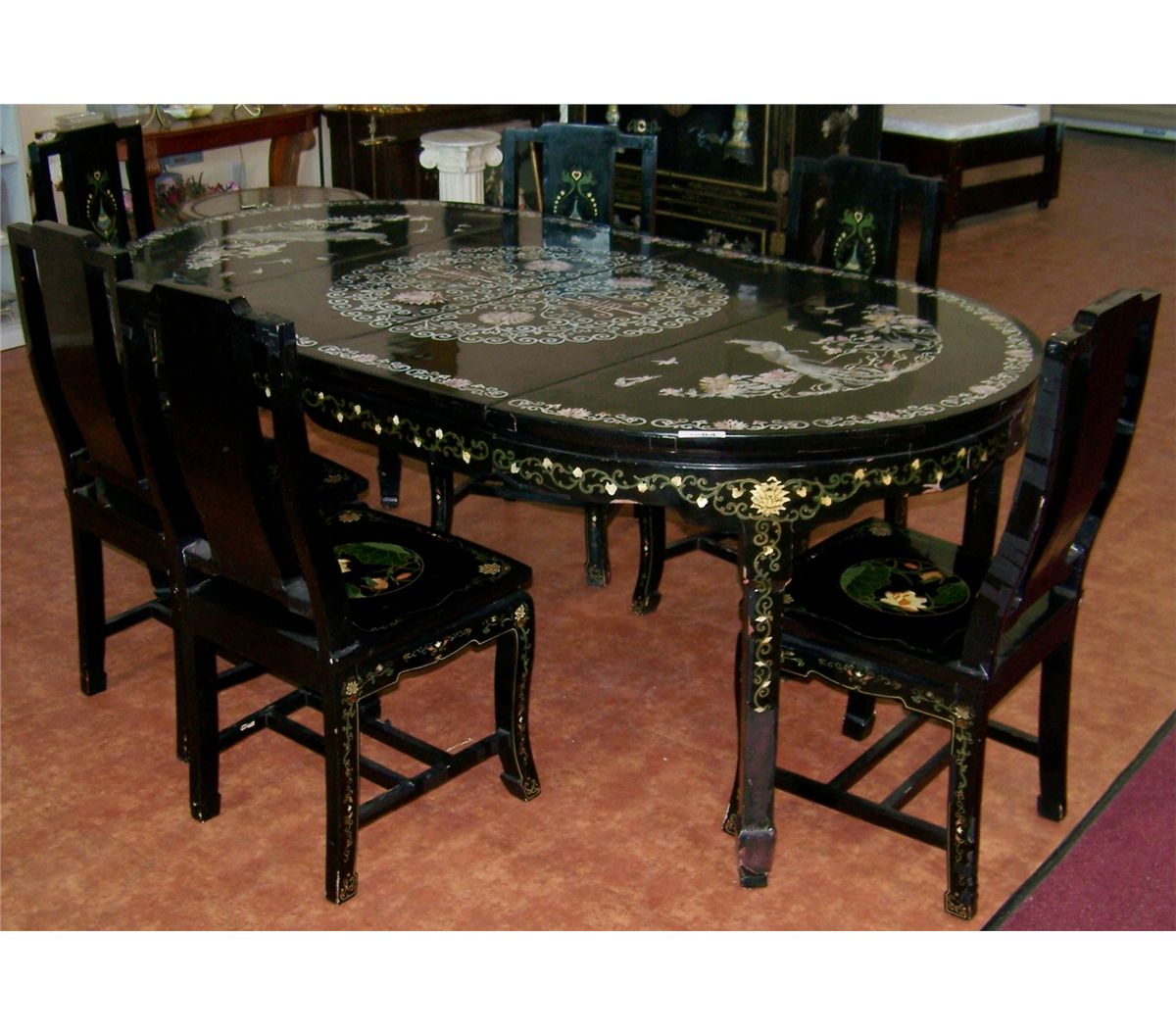 Oriental Dining Table: VINTAGE MOTHER OF PEARL INLAY CHINESE DINING TABLE & SIX