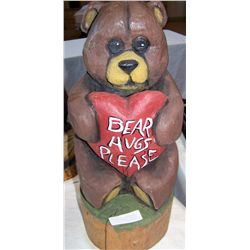"Bear Hugs Please Wood Carved Sculpture, 21""T x 8""D"