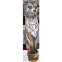 "Wolf Wood Carved Sculpture, 35""T x 7""D"