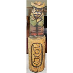"Howdy Cowboy Carved Wood Sculpture 40""T x 14""W."