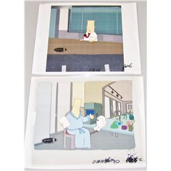 Two Original DILBERT Cartoon Cels w/ Water Color Backgrounds.