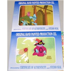 (2X$) HE-MAN Original Cartoon Cels w/ COA's and Studio Seals.