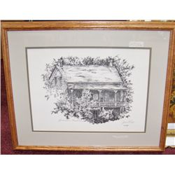 """Gubenhain-Fausel House1985"" Ink Drawing Signed Jonni Hill"