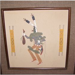 Two 1970's Framed Native American Sandstone Artworks