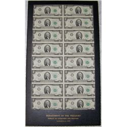 DEPARTMENT OF THE TREASURY UNCUT 16 STAR NOTES IN SEQUENCE 1976 $2 NOTES